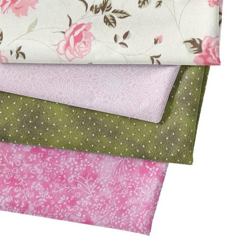Kit Fat Quarter - Floral Bege e Rosa (4 Cortes de 50 cm x 75 cm)