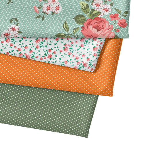 Kit Fat Quarter - Floral Jardim Bricks - Verde (4 Cortes de 50 cm x 75 cm)