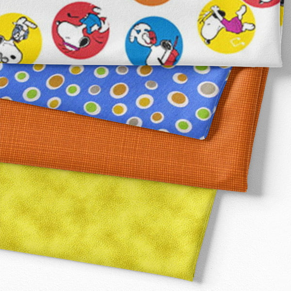 Kit Fat Quarter - Personagens Snoopy Colors (4 Cortes de 50 cm x 75 cm)