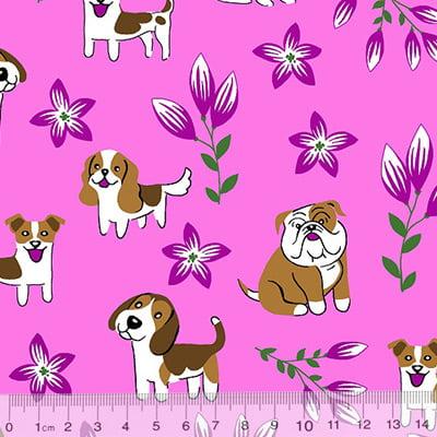 Tecido Tricoline Alg. Cães e Flores - Rosa - 100% Algodão - Largura 1,45m