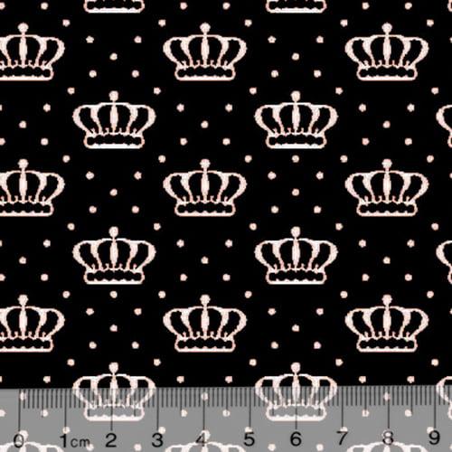 Tecido Tricoline Alg. Coroas Crown - Preto - 100% Algodão - Largura 1,45m