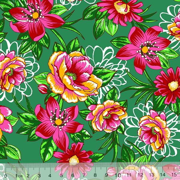 Tecido Tricoline Alg. Floral - Jardim Dolores - Fundo Verde - 100% Algodão - Largura 1,45m