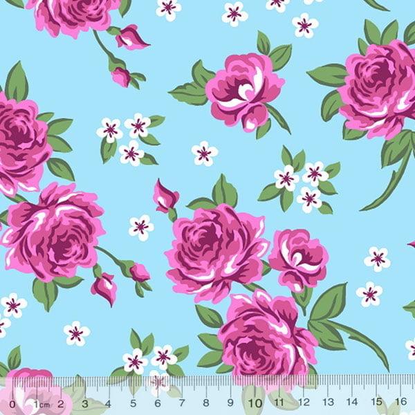 Tecido Tricoline Alg. Floral My Belle - Azul - 100% Algodão - Largura 1,45m