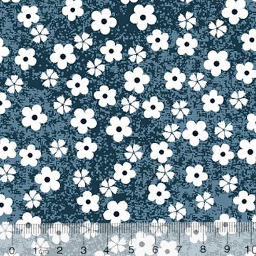 Tecido Tricoline Alg. Pequenas Florzinhas - Fundo Azul Marinho - 100% Algodão - Largura 1,45m