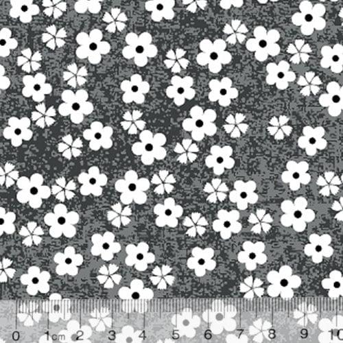 Tecido Tricoline Alg. Pequenas Florzinhas - Fundo Preto - 100% Algodão - Largura 1,45m