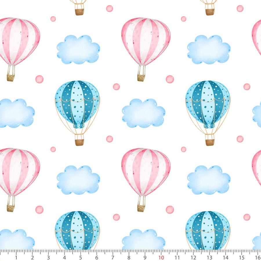 Tecido Tricoline Balões e Nuvens - 100% Algodão - Largura: 1,50m