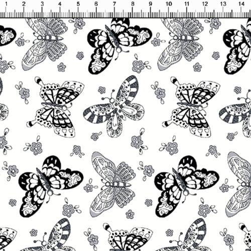 Tecido Tricoline Borboletas Design - Branco - 100% Algodão - Largura: 1,50m