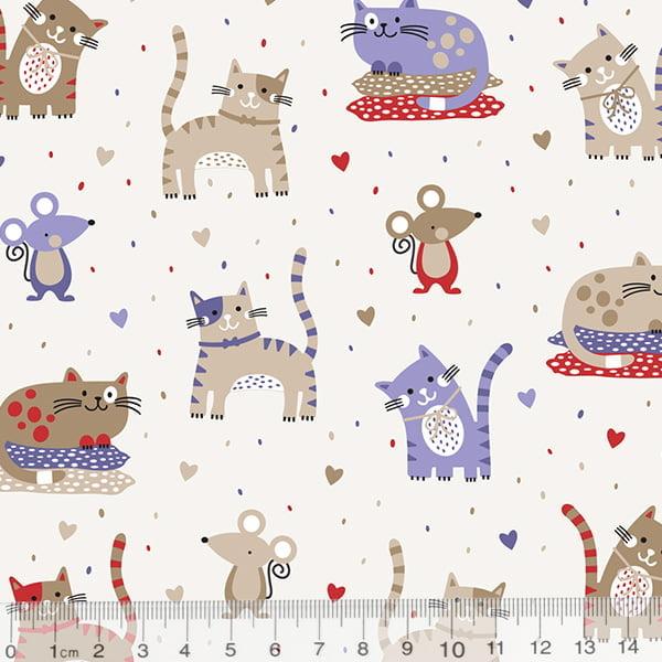 Tecido Tricoline CatRat Gatinhos e Ratinhos - Azul