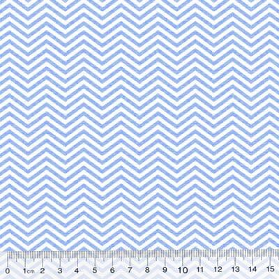 Tecido Tricoline Pan Mini Chevron Slim - Azul Claro - 100% Algodão - Largura 1,50m