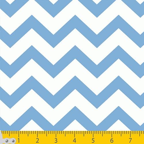 Tecido Tricoline Chevron Stripes - Azul Claro - 100% Algodão - Largura 1,50m