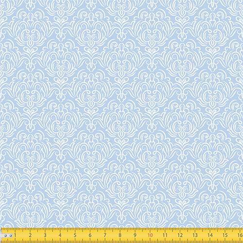 Tecido Tricoline Coleção Adamascado - Azul Claro - 100% Algodão - Largura: 1,50m
