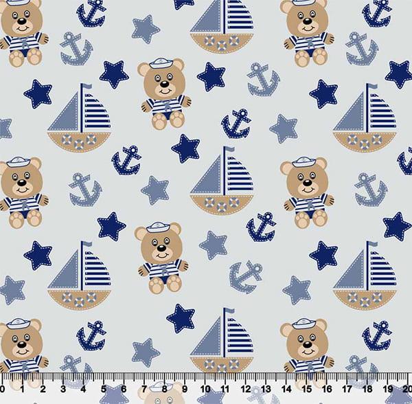 Tecido Tricoline Coleção Bebê Marinheiro - Ursinhos - Azul - 100% Algodão - Largura 1,50m