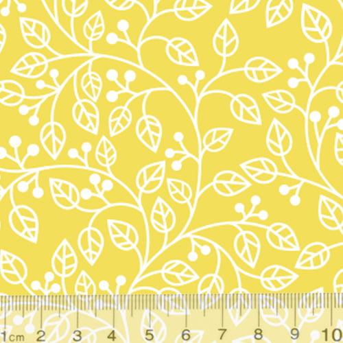 Tecido Tricoline Coleção Composê Ideal Amarelo - Ramos - 100% Algodão - Largura 1,50m