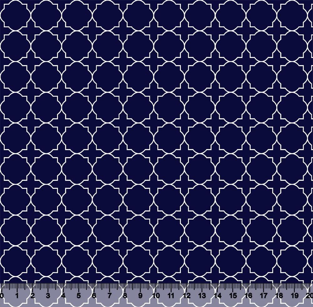 Tecido Tricoline Coleção Composê Ideal Azul Marinho - Mural - 100% Algodão - Largura 1,50m
