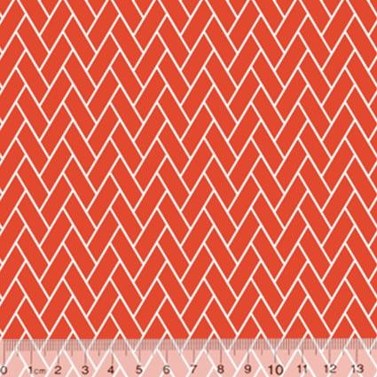Tecido Tricoline Coleção Composê Ideal Laranja - Tijolinhos - 100% Algodão - Largura 1,50m
