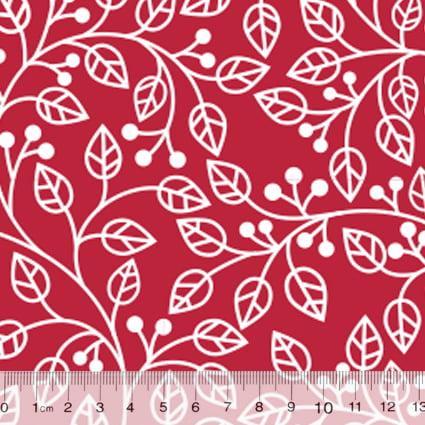 Tecido Tricoline Coleção Composê Ideal Vermelho - Ramos - 100% Algodão - Largura 1,50m