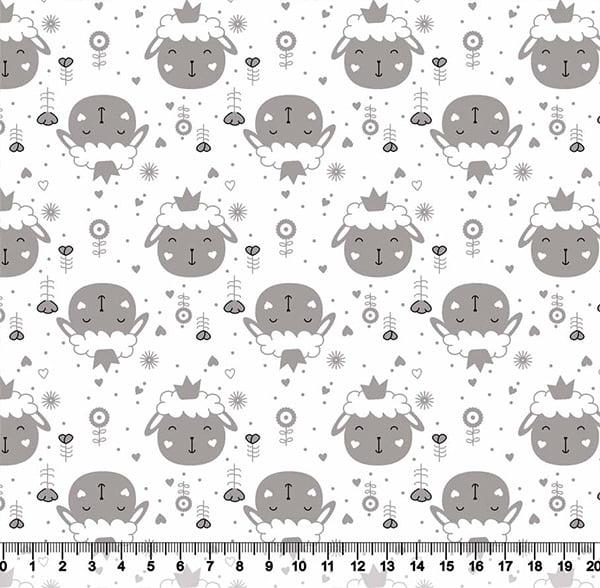 Tecido Tricoline Coleção Cute Animals - Ovelhinhas - Cinza - 100% Algodão - Largura 1,50m