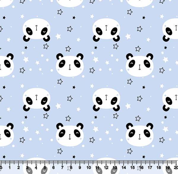 Tecido Tricoline Coleção Cute Animals - Panda - Azul - 100% Algodão - Largura 1,50m