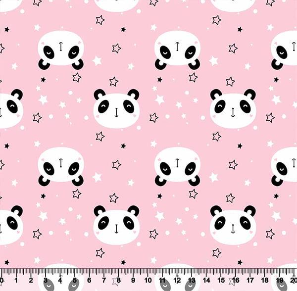 Tecido Tricoline Coleção Cute Animals - Panda - Rosa - 100% Algodão - Largura 1,50m