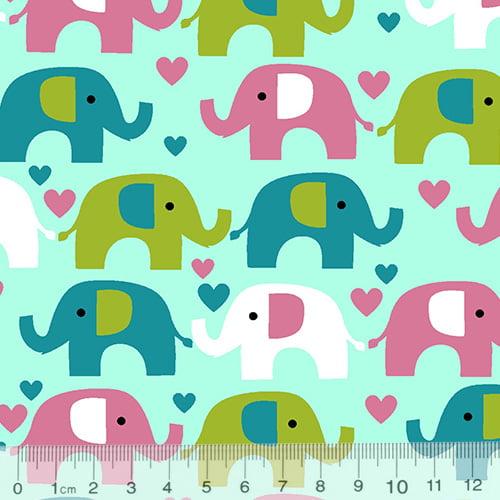 Tecido Tricoline Coleção Elefantinhos Coloridos - Fundo Azul Claro - 100% Algodão - Largura 1,50m