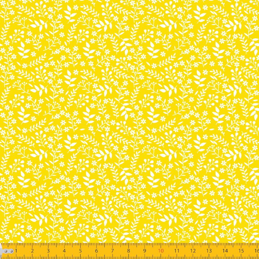 Tecido Tricoline Coleção Florescer - Amarelo - 100% Algodão - Largura: 1,50m