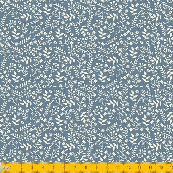 Tecido Tricoline Coleção Florescer - Azul Antigo - 100% Algodão - Largura: 1,50m