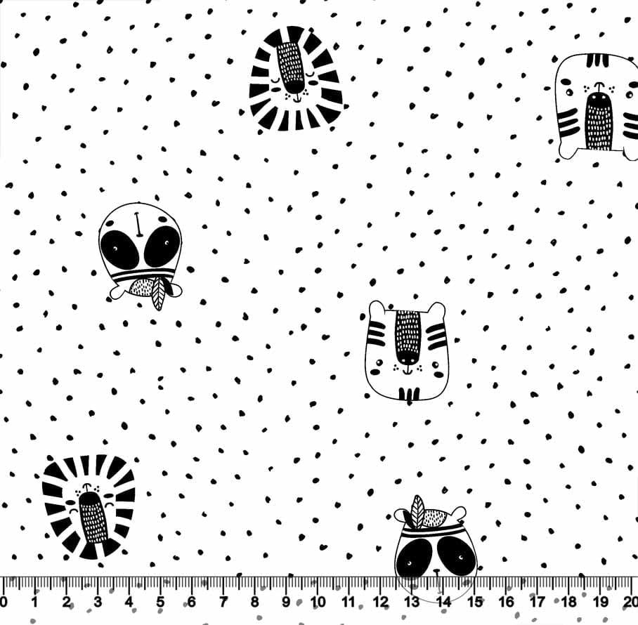 Tecido Tricoline Coleção Funny Black & White - Bichinhos Splash - 100% Algodão - Largura 1,50m