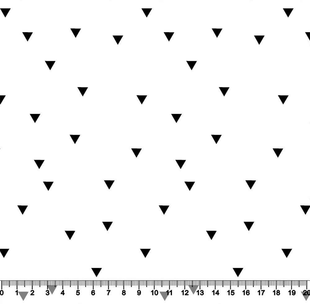Tecido Tricoline Coleção Funny Black & White - Mini Triângulos - 100% Algodão - Largura 1,50m
