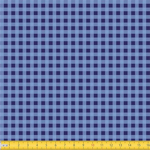 Tecido Tricoline Coleção Xadrez Chess - Azul Marinho - 100% Algodão - Largura: 1,50m