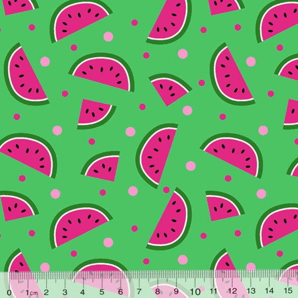 Tecido Tricoline Des. Frutas Melancias - Verde - 100% Algodão - Largura 1,50m