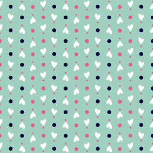 Tecido Tricoline Design Mini Corações - Turquesa - 100% Algodão - Largura 1,50m