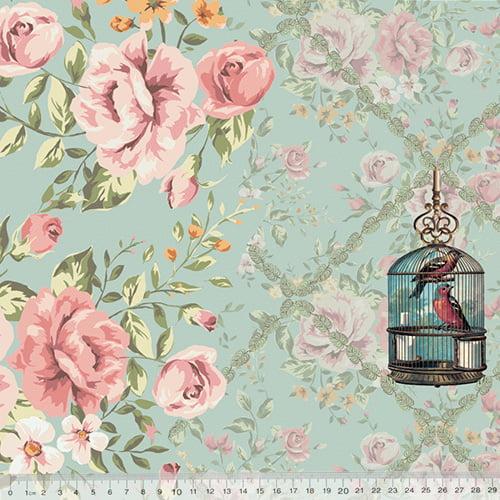 Tecido Tricoline Digital Classic Flower Bird - 100% Algodão - Largura 1,50m