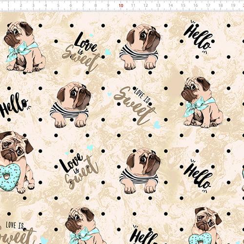 Tecido Tricoline Digital Dog Love Sweet - 100% Algodão - Largura 1,50m