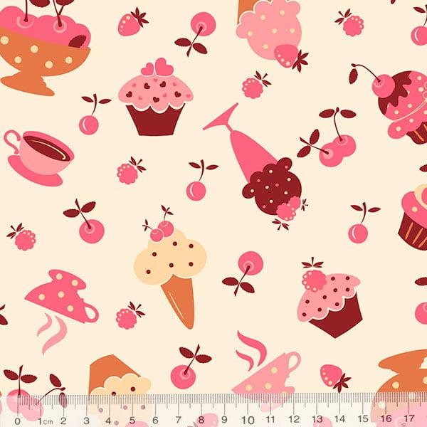 Tecido Tricoline Doces, Cupcakes e Sorvetes - Fundo Bege