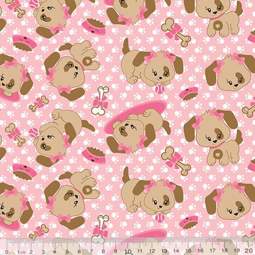 Tecido Tricoline Dog Pink - Rosa - 100% Algodão - Largura 1,50m