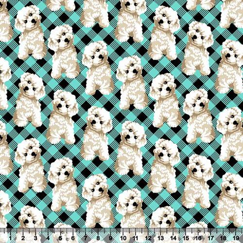 Tecido Tricoline Dog Poodle - 100% Algodão - Largura 1,50m