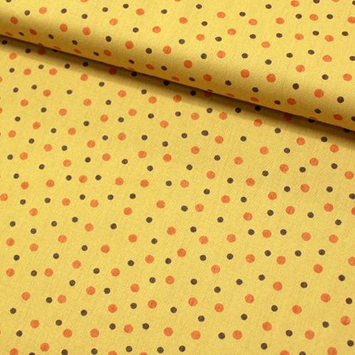 Tecido Tricoline Dots Dual - Mostarda - 100% Algodão - Largura 1,50m