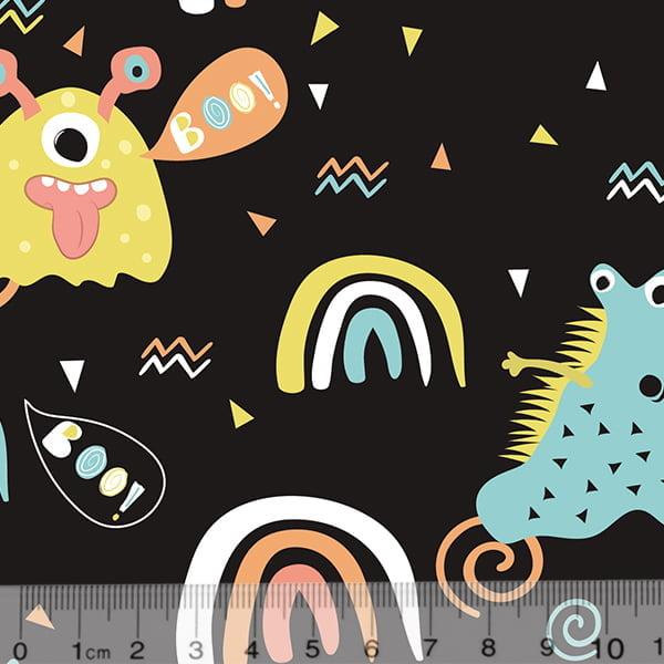 Tecido Tricoline Especial Coleção Monster Friends - Diversão Boo - Fundo Preto - 100% Algodão - Largura 1,50m