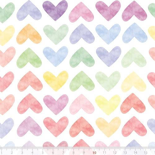 Tecido Tricoline Especial Corações Coloridos Candy - 100% Algodão - Largura 1,50m