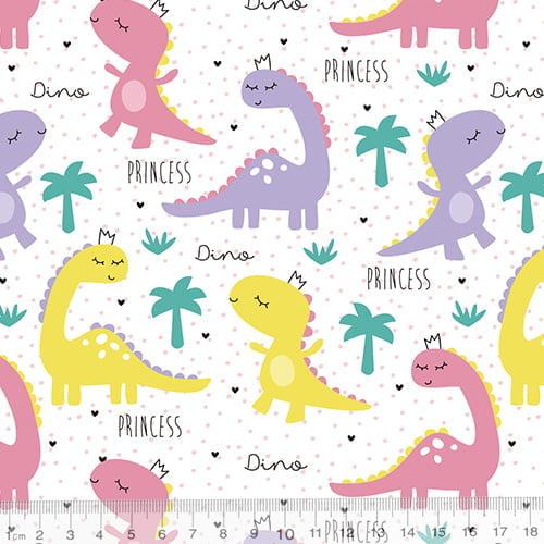 Tecido Tricoline Especial Dino Princess - 100% Algodão - Largura 1,50m