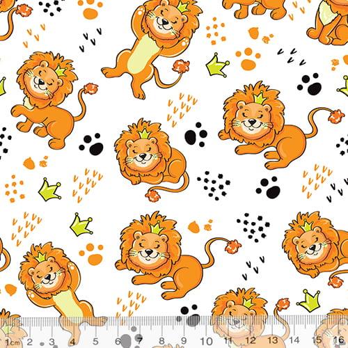 Tecido Tricoline Especial Leão Feliz - 100% Algodão - Largura 1,50m