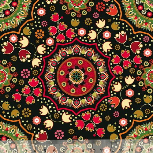Tecido Tricoline Especial Mandala Gardenia - 100% Algodão - Largura 1,50m