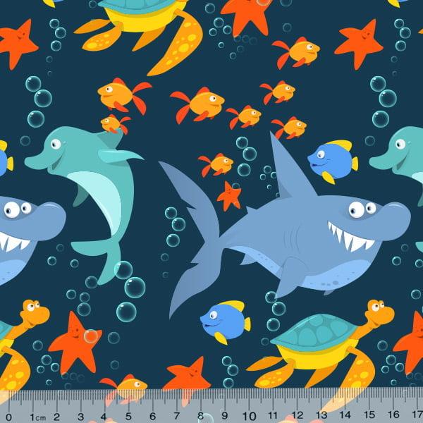 Tecido Tricoline Especial Turma do Mar - Azul Marinho - 100% Algodão - Largura 1,50m