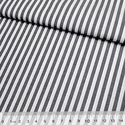 Tecido Tricoline Fio-Tinto Listras G - Preto - 100% Algodão - Largura 1,50m
