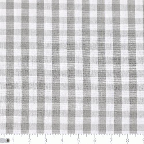 Tecido Tricoline Fio-Tinto Vichy Xadrez G - Cinza - 100% Algodão - Largura 1,50m