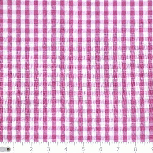 Tecido Tricoline Fio-Tinto Vichy Xadrez M - Rosa Pink - 100% Algodão - Largura 1,50m