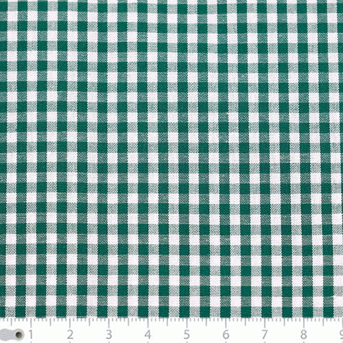 Tecido Tricoline Fio-Tinto Vichy Xadrez M - Verde Bandeira - 100% Algodão - Largura 1,50m