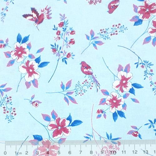 Tecido Tricoline Floral Beija Flor - Azul - 100% Algodão - Largura 1,50m