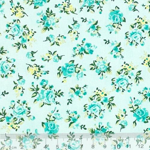 Tecido Tricoline Floral Desert - Verde - 100% Algodão - Largura 1,50m