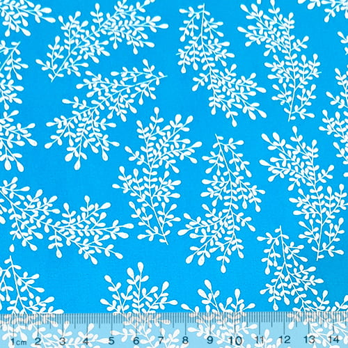 Tecido Tricoline Floral Floramos - Azul Claro - 100% Algodão - Largura 1,50m